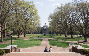 Campus shot of Polk Place quad at Carolina.