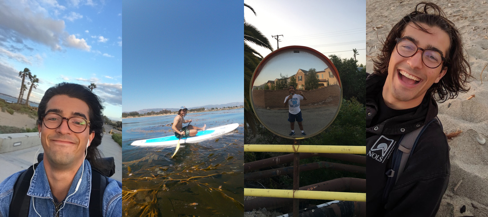 Rodrigo biking, rowing, hiking, and walking around Ventura.