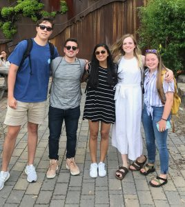 Group photo of Bobby McQueen, Alex Mazer, Jaya Mishra, Maggie Helmke, and Megan Lienau.