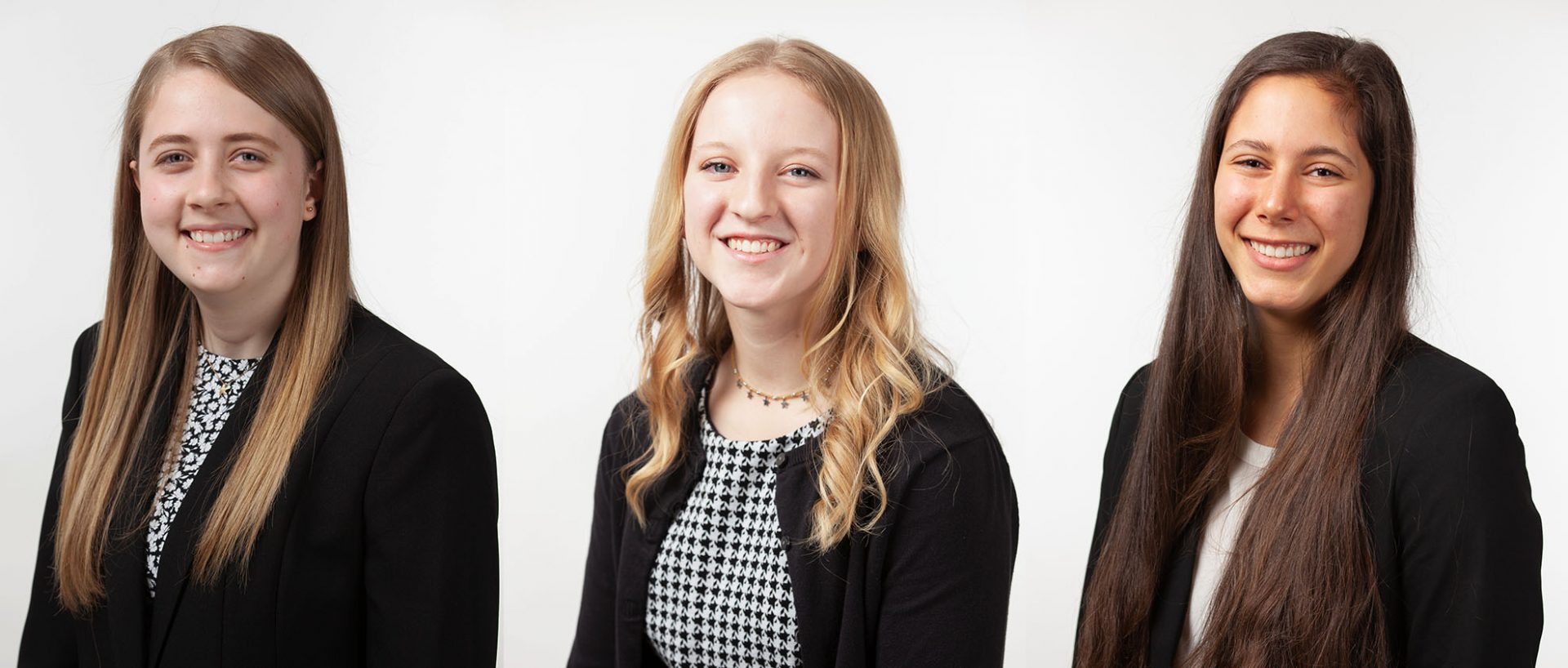 Headshots of Andrea Cornel, Katy Waddell, and Molly Dorgan from the Class of 2024