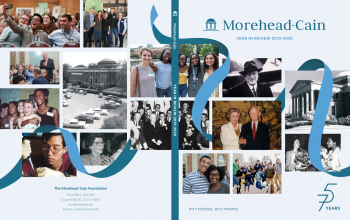 The cover of the Year in Review has pictures of scholars and alumni from all 75 years of the Foundation