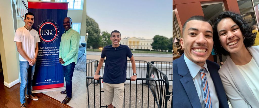 In three separate images, Greear poses with Ron Busby in front of a USBC banner; stands in front of the White House; and takes a selfie with Ashton Martin '20.
