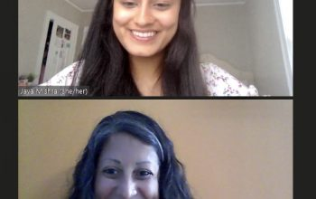 Jaya Mishra '22 and Lakshmi Murty Goudar '99 on a Zoom call.